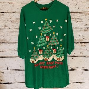Vtg Christmas Sweatshirt Night Gown Sleep Shirt